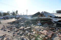 Riots in Ferguson. FERGUSON, MO/USA – NOVEMBER 25, 2014: Smoldering remains of Prime Beauty Supply in Ferguson in the aftermath of riots after announcement of Royalty Free Stock Image