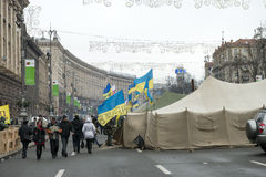 Riots in the Khreschatyk Street in Kiev Stock Image