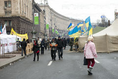 Riots in the Khreschatyk Street in Kiev Royalty Free Stock Photos