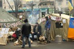 Riots in the Khreschatyk Street in Kiev Stock Photography