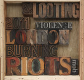 Riots, looting words Royalty Free Stock Image