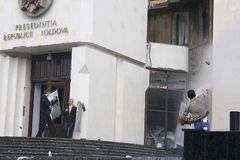 Riots in Moldova. Protestants attacking the presidency building in Chisinau Stock Photos