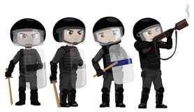 Riots Police. Illustration of riots policemen doing different actions Stock Photo