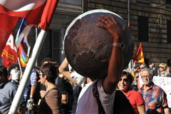 Riots in Rome - Italian Students Protest. Most of the violence took place near the Colosseum Royalty Free Stock Image