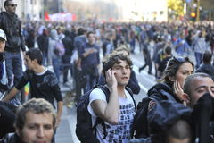 Riots in Rome - Italian Students Protest Royalty Free Stock Photos