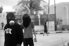 Riots on street in Betlehem Palestine Aida refugee camp.  Royalty Free Stock Photo