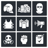 Riots in the street  icon collection Stock Photography