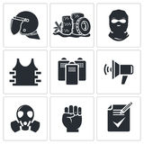 Riots in the street vector Icons set Royalty Free Stock Photo