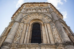 Rioux church window. Abse window of the romanesque Rioux church. Region of Charente in France Royalty Free Stock Images