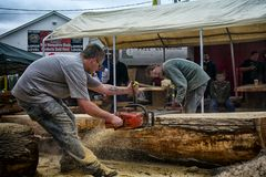 Rip It. Two modern loggers milling a massive log into planks with portable sawmill Royalty Free Stock Images