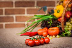 Rip cherry tomatoes on the branch. On the background fresh fruit. Cherry tomatoes on the branch, On background Composition with assorted raw organic vegetables Royalty Free Stock Photos