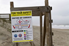 Rip Current Danger Sign by rhe Sea Stock Images