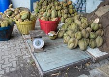 Rip durian pile in the local Thai market. Royalty Free Stock Photography