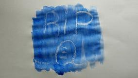 Rip grave text inscription watercolor artist paints blot isolated on white background art video. Rip grave text inscription watercolor artist paints blot stock video