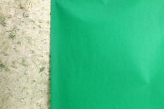 Rip green natural handmade paper Stock Image