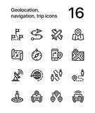 Geolocation, navigation, trip icons for web and mobile design pack 3 Stock Image