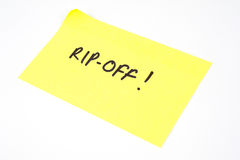 'Rip-Off!' written on a sticky note Royalty Free Stock Photography