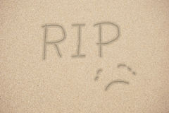 RIP, rest in peace, hoanwriting on   sand Stock Image