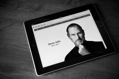 RIP Steve Jobs. Photo of the founder on the website apple.com shown on the Apple Ipad2 device. Processed in BW Royalty Free Stock Photography