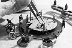 Riparazione degli orologi Fotografia Stock