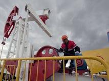 Riparazione del pozzo di petrolio Siberia occidentale, Russia Immagini Stock