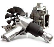 Riparazione dell'automobile - dettagli della pompa della chiave pneumatica dell'aria e di alta pressione Fotografia Stock