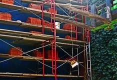 Riparazione della casa dell'armatura del mattone con la parete dell'edera Fotografia Stock