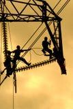 Riparazione della linea elettrica Fotografia Stock Libera da Diritti