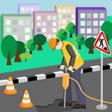 Riparazione della strada Riparatore con il martello pneumatico Immagini Stock Libere da Diritti