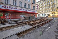 Riparazione delle piste del tram Distretto di Landstrasse, Vienna, Austria immagine stock libera da diritti