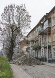 Riparazione di pavimentazione principale di stone.street a Leopoli Immagine Stock