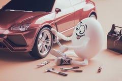 Riparazione divertente del meccanico di automobile dell'uovo la ruota Stylization di Instagram Immagini Stock