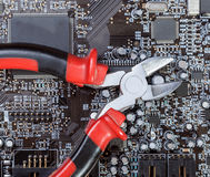 Riparazione e mantenimento degli apparecchi elettronici Fotografia Stock