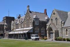 Riparazioni di terremoto dell'istituto universitario del Christ, Christchurch Fotografia Stock Libera da Diritti