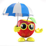 ripari di 3d Apple sotto un ombrello Fotografie Stock