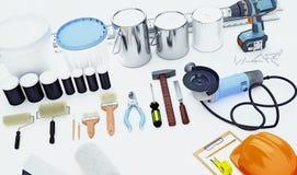 Ripari gli accessori Insieme degli strumenti e delle pitture per la fabbricazione della riparazione Fotografia Stock