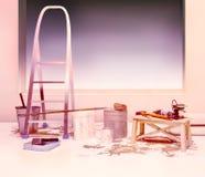 Ripari gli accessori Insieme degli strumenti e delle pitture per la fabbricazione della riparazione I Immagine Stock