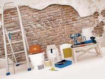 Ripari gli accessori Insieme degli strumenti e delle pitture per la fabbricazione della riparazione I Immagini Stock Libere da Diritti