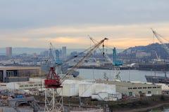 Ripari il cantiere navale lungo il fiume di Willamette a Portland Oregon Fotografia Stock