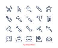 Ripari la linea icone degli strumenti messe Fotografie Stock