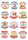 Ripari le icone di vettore degli strumenti dei lavori di costruzione Fotografia Stock Libera da Diritti