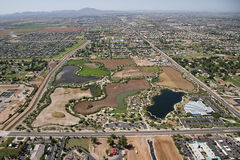Riparian Preserve. Aerial view of the Riparian Preserve in Gilbert, Arizona Royalty Free Stock Photos