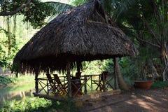 Riparo fatto dalle foglie di legno ed asciutte vicino allo stagno per ecoturismo Immagini Stock Libere da Diritti
