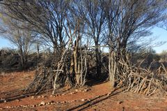 Riparo temporaneo della capanna dei Aboriginals australiani fotografia stock libera da diritti