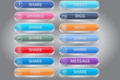 Ripartalo icone sociali di media Fotografie Stock