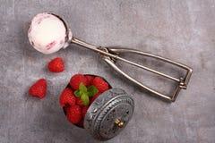 Ripartitore con il gelato ed il lampone della bacca su vecchio fondo di legno fotografia stock