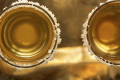 Ripasso Tequila Shots. Closeup of Ripasso tequila shot srimmed with salt Royalty Free Stock Image