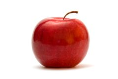 Ripe apple. Ripe red apple isolated on the white stock photos