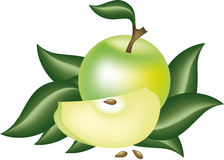 Ripe apple with green leaves Stock Photos