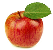 Ripe apple with a leaf Stock Image